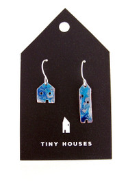 Tiny Houses Enameled Copper Earrings / Seaside