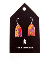 Tiny Houses Enameled Copper Earrings / Cottage