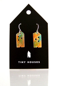 Tiny Houses Enameled Copper Earrings / Gingerbread