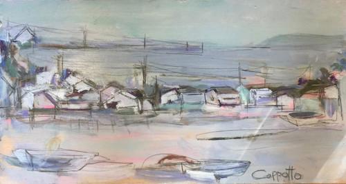 """Wellfleet Harbor"" by Karen Kapotto, Oil on Panel | Creative Connections"