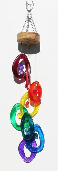 Spiral Glass Chime  'Rainbow' - Bottle Benders