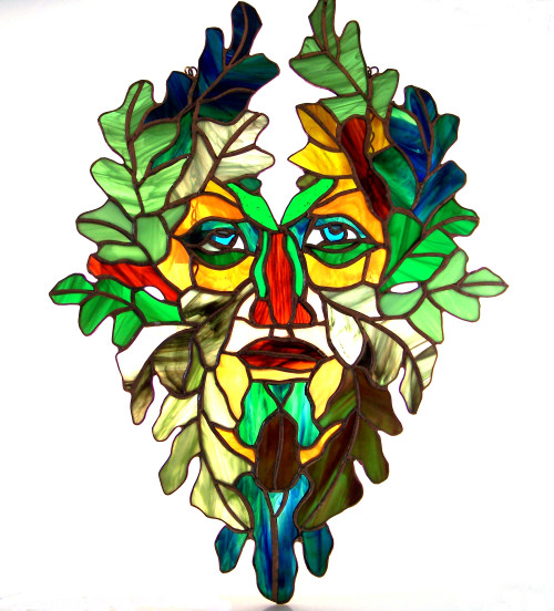 Green Man in Stained Glass by Michael Oates