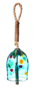"Kitras Art Glass 4"" Garden Bell - Teal"
