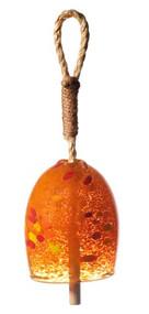 """Kitras Art Glass 4"""" Garden Bell - Tangerine"""