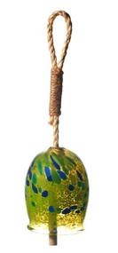 """Kitras Art Glass 4"""" Garden Bell - Chartruse"""