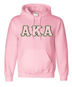 pink hoodie with stitched tackle twill letters