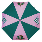 Pink and green Alpha Kappa Alpha automatic open folding umbrella with the crest and pearl lined ivy on alternating panels.