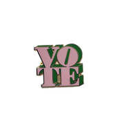 3D Enamel Vote Pin  - Pink & Green