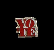 3D Enamel Vote Pin - Red & White