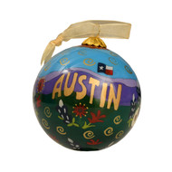 Kitty Keller Hand Painted Austin Guitar Ornament (12960-G)