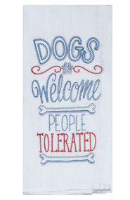 Dogs Welcome Embroidered Flour Sack Towel (A8629)