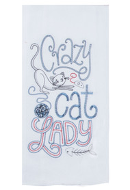 Crazy Cat Lady Embroidered Flour Sack Towel (A8630)