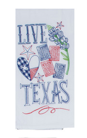 Live Love Texas Embroidered Flour Sack Towel (A8635)