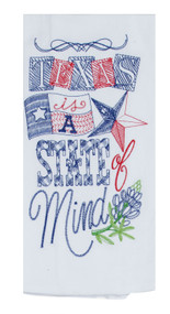 Texas State of Mind Embroidered Flour Sack Towel (A8636)