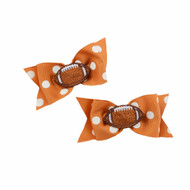 Texas Longhorn Dot Hair Bow Pair (CVR3-TX)