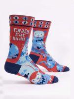 Blue Q Crazy Cat Dude Crew Socks (SW870)