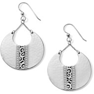 Hand-hammered silver disc earrings are punctuated with our swirling Mingle motif for a signature Brighton look. Lightweight and statement making.