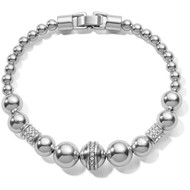 This petite silver beaded bracelet, enhanced with our Meridian motif, adds a glamorous touch to your look. Easily goes from desk to dinner, and is ideal for stacking.