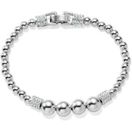This all-silver beaded bracelet features the Swarovski-encrusted barrels seen throughout our Meridian Collection, giving it an upscale look. Great for stacking with other beaded bracelets and bangles.