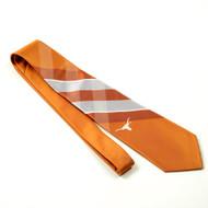 Texas Longhorn Grid Tie Burnt Orange, Gray and White Diagonal Bands Single White Longhorn Logo Woven Polyester