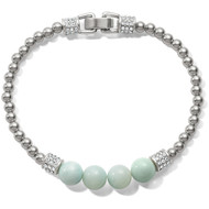 This silver bracelet pairs our stunning Swarovski-encrusted barrels with the whisper-soft hue of natural Amazonite beads.