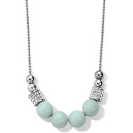 This silver necklace pairs our stunning Swarovski-encrusted barrels with the whisper-soft hue of natural Amazonite beads.