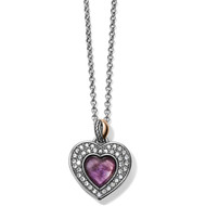 This reversible heart necklace features African Amethyst on one side, showcased in a framework of pave Swarovski, while the other offers rose gold plating, surrounded by smooth silver. Amethyst is said to promote feelings of contentment