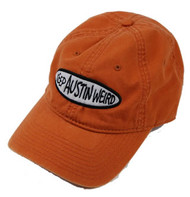 The Keep Austin Weird Tie Dye Burnt Orange Cap features an embroidered patch. The cotton cap supports local business.