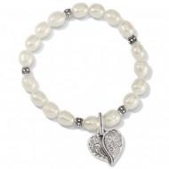 Brighton Ornate Heart Pearl Stretch Bracelet (JF8003)