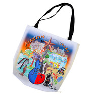 """The tote features the Austin skyline a red, white and blue guitar, F1,bats and Bluebonnets Heavy duty canvas with two shoulder straps printed on both sides. 18"""" X 17.5"""" - made in the USA"""