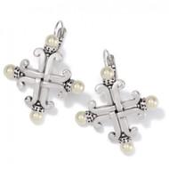 Brighton Taos Pearl Cross Leverback Earrings (JA7193)
