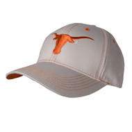 Texas Longhorn Grey Orange Logo & Stitching Cap (GREYWORANGESTITCH)