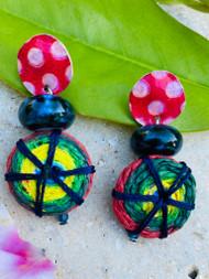 Treska Allegra Printed Top Post Earrings with Drop (ALG7591)