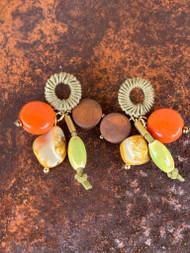 Treska Bali Hai Wrapped Ring Post Cluster Drop Earrings (BAL8071)