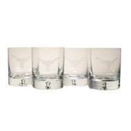 Texas Longhorn Logo Etched Crystal Old Fashion Glasses (Set of 4) (RC6137)