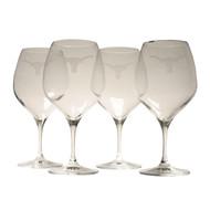 Texas Longhorn Logo Etched Crystal Pinot Noir Glasses (Set of 4) (RCV25)