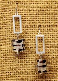 Treska Finds Linked Rectangle & Black/White Glass Earrings (TRFF2031)