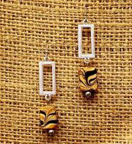 Treska Finds Linked Rectangle & Black/Tan Glass Earrings (TRFF2041)