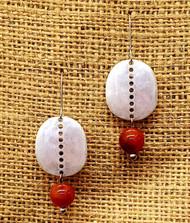 Treska Finds Linked Disc & Texas Orange Stone Earrings (TRFF2061)