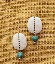 Treska Finds Linked Disc & Aqua Stone Earrings (TRFF2071)