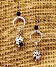Treska Finds Linked Ring & Balck/White Ceramic Earrings (TRFF2091)