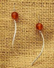Treska Finds Linked Texas Orange Bead & Wavy Bar Earrings (TRFF2181)