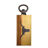 Texas Longhorn Mini Wood Branded Logo Bottle Opener (UTX-MBO)