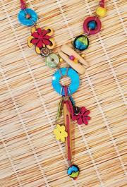 Treska Maldives Link Bead & Cord Chunky Pendant Necklace (MAL41127)