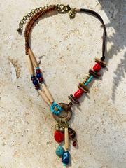Treska Yellowstone Adjustable Short Ring Pendant Beaded Necklace (YEL45167)