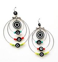Treska Chandelier Large Hoop Brights/Black & White Earrings (EA30141)