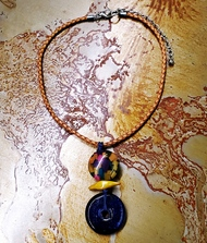Treska Vintage Finds Blue Linked Bead Pendant Necklace on Leather (VF23017)