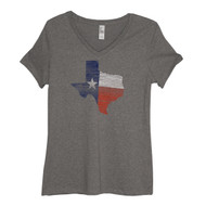 Woodgrain Ladies Texas Shape V-Neck Tee (6089LVHN)
