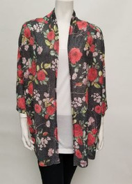 Nally & Millie Floral Print Open Jacket/Cover-Up (N134906C)