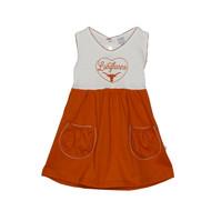 Texas Longhorn Infant/Toddler Hear Pocket Dress (8743-SOLIDSKIRT)